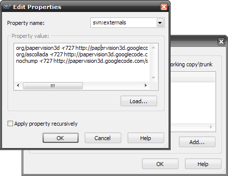 Turtoise SVN folder properties window
